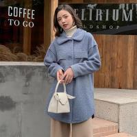 【SZ】韓版舒翻領排扣羊羔毛中長款外套S-L(共二色)