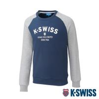 K-SWISS Curve KS Logo Sweatshirt圓領長袖上衣-男-深藍/淺灰