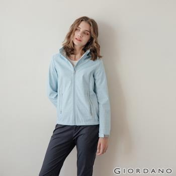 GIORDANO 女裝Softshell 三合一高機能炫彩刺繡連帽外套-89 雪白/淡藍