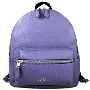 COACH 馬車LOGO全皮革前口袋雙肩後背包(丁香紫色/大)