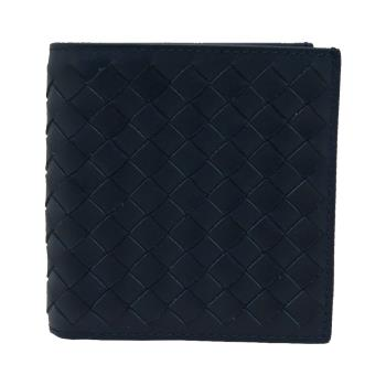 BOTTEGA VENETA 小牛皮編織6卡對開短夾 (藍)