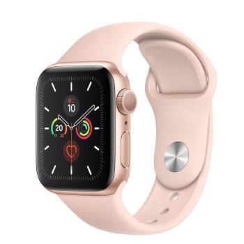 Apple Watch Series 5 GPS版 40mm 金色鋁金屬錶殼配粉沙色運動錶帶 (MWV72TA/A)