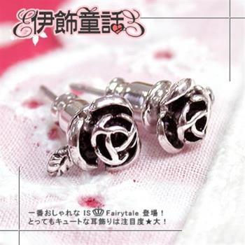 【伊飾童話】尊爵騎士古銀玫瑰耳環