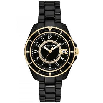 COACH 小香款奢華晶鑽陶瓷腕錶/黑/32mm/CO14503461
