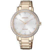 CITIZEN 星辰 LADYS 光動能璀璨晶鑽腕錶/玫瑰金/35.5mm/FE7043-55A