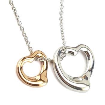 TIFFANY 18K金+純銀雙Open Heart墜飾項鍊