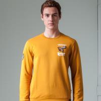 oillio歐洲貴族 男裝 亮眼霸王峰 舒適自然棉 萊卡彈性 吸濕不悶熱 細膩觸感 長袖T恤 黃色-男款 低調奢華 縮口下擺
