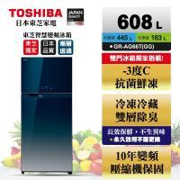 買就送40吋大同電視  TOSHIBA 東芝608公升一級能效雙門鏡面冰箱 漸層藍GR-AG66T(GG)
