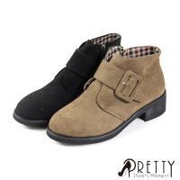 Pretty 絨布釦飾內側拉鍊粗低跟短靴B-2A808