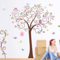 【半島良品】DIY無痕創意牆貼/壁貼-繽紛小樹 JM7250雙拼