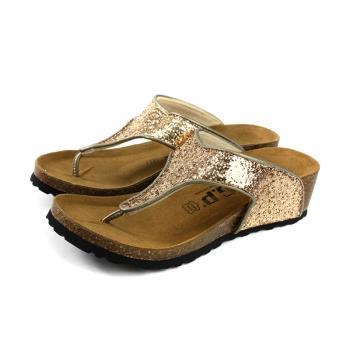 G.P 阿亮代言 夾腳拖鞋 人字拖 坡型跟 女鞋 金色 亮片 W783-88 no350