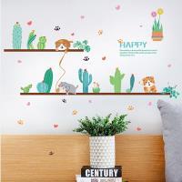 壁貼 - 小清新貓與仙人掌