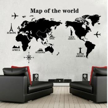 【半島良品】DIY無痕創意牆貼/壁貼-世界地圖 黑 AY9133大