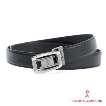 【ROBERTA 諾貝達】義大利牛皮-精選紳士皮帶-17-黑色荔枝紋