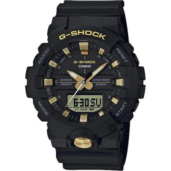 CASIO 卡西歐 G-SHOCK 黑金雙顯手錶-金色/48.6mm GA-810B-1A9