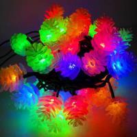 聖誕燈裝飾燈LED50燈松果燈造型燈(彩光黑線)(插電式/附控制器跳機)