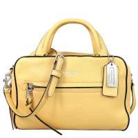 COACH BLEECKER 檸檬黃色荔枝紋全皮革拉鍊前袋手提/肩斜兩用包