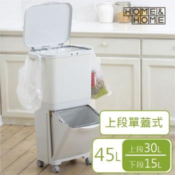 日本 RISU HH直立雙層分類附輪(單蓋)式垃圾桶 45L