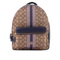 COACH 緹花布+皮革條紋後背包(卡其/紫色) F68034 IMPUP