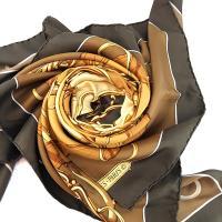HERMES 印花圖案駝色底深咖啡色框絲質大披肩 (展示品)