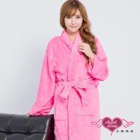 天使霓裳 任選-保暖睡袍 亮麗綺想 柔軟珊瑚絨一件式綁帶連身睡衣(深粉F) AQ60923