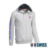 K-SWISS Shield Logo Hoodie Jacket刷毛連帽外套-男-淺灰