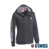 K-SWISS Shield Logo Hoodie Jacket刷毛連帽外套-女-黑
