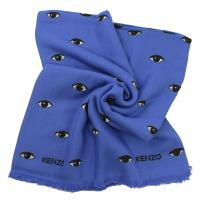 KENZO 經典眼睛印花絲綢披肩大方巾.藍