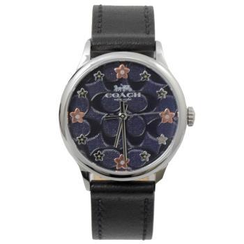 COACH W1607 花朵C LOGO印花石英腕錶.黑/午夜藍
