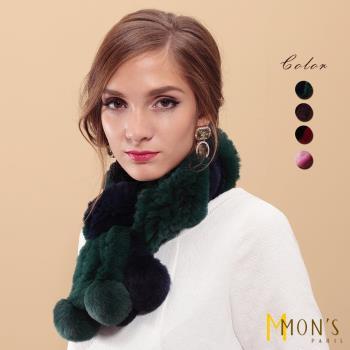 MON'S造型彩漾雙色設計獺兔毛皮草圍巾