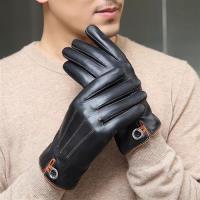 【米蘭精品】觸控手套真皮手套-山羊皮加絨紐扣裝飾男手套73wm24