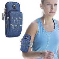 【活力揚邑】防水透氣排汗耳機孔跑步自行車運動手機音樂臂包臂袋臂帶臂套7.2吋以下通用-藍色