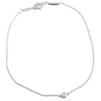 TIFFANY 圓形明亮切割單鑽925純銀手鍊