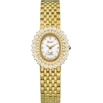 Ogvial 瑞士愛其華-薔薇系列璀璨時尚真鑽腕錶-金 380-02DLK