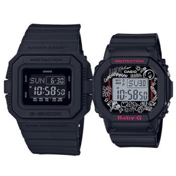 【CASIO】G-SHOCK X BABY-G 潮流耐衝擊運動對錶 (DW-D5500BB-1+BGD-560SK-1)