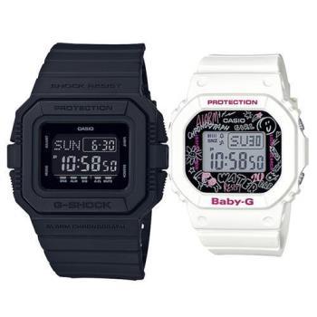 【CASIO】G-SHOCK X BABY-G 潮流耐衝擊運動對錶 (DW-D5500BB-1+BGD-560SK-7)