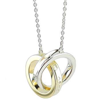 TIFFANY 1837系列-18K金混搭純銀雙戒環墜飾項鍊