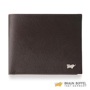 BRAUN BUFFEL 提貝里烏斯-II系列4卡零錢袋皮夾 -咖啡色 BF348-315-ENY