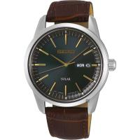 SEIKO精工 CS 太陽能SOLAR 手錶-綠x咖啡色錶帶/ 40mm V158-0BE0G(SNE529P1)