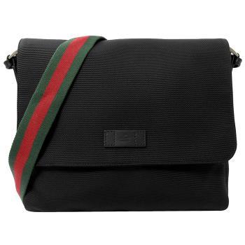 GUCCI 307074 經典綠紅綠斜背帶帆布翻蓋郵差包.黑