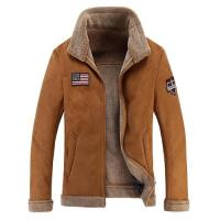 【米蘭精品】皮衣外套翻領夾克-皮毛一體羊羔毛保暖男外套2色73wn18