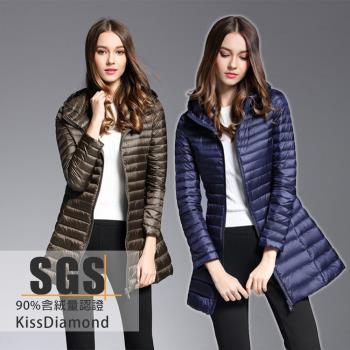 【KISSDIAMOND】SGS90+輕羽絨連帽中長版外套-KD-8711(連帽/保暖/防潑水/女款8色 M-4XL可選)