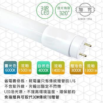 旭光-LED 15W T8-3FT 3呎 全電壓玻璃燈管-2入 晝白.自然.燈泡色(免換燈具直接取代T8傳統燈管)