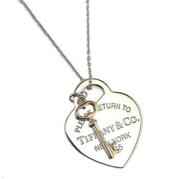 Tiffany 925純銀愛心Rubedo金色鑰匙墜飾項鍊