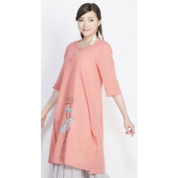 蘭陵自然風棉質手繪長版洋裝H03-12