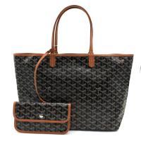 【GOYARD】St. Louis防水帆布托特購物包-PM (黑/棕)