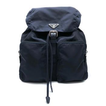 【PRADA】三角Logo雙口袋尼龍後背包(1BZ005-藍)