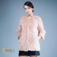 MONS甜美時尚100%皮草長版外套