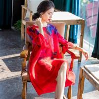 多彩圓領繽紛印花寬鬆壓摺連身裙-F(共三色)-糖潮