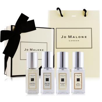 Jo Malone 年度熱銷香水禮盒[青檸羅勒+黑莓+藍風鈴+鼠尾草](9mlX4)[附禮盒+提袋]